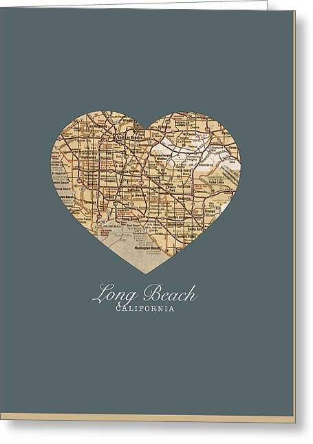 Long Street Mixed Media Greeting Cards - I Heart Long Beach California Vintage City Street Map Americana Series No 019 Greeting Card by Design Turnpike