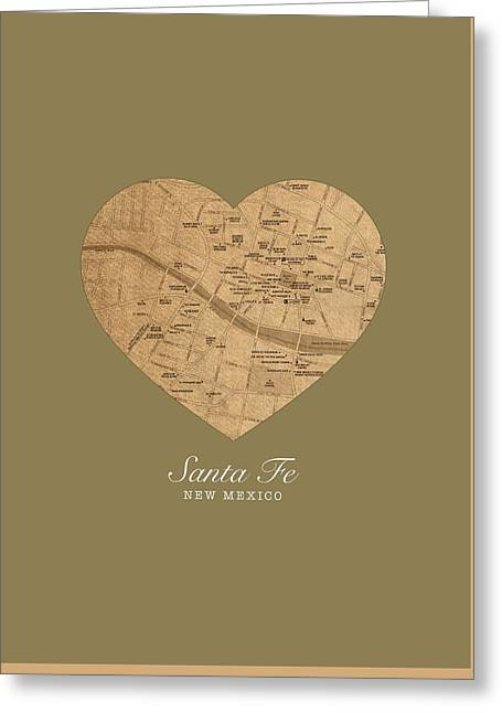 Santa Fe Greeting Cards - I Heart Santa Fe New Mexico Vintage City Street Map Americana Series No 027 Greeting Card by Design Turnpike