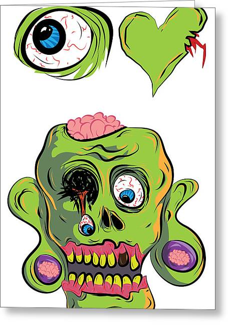 Living Dead Greeting Cards - I Heart Zombies / I love Zombies Greeting Card by Jera Sky