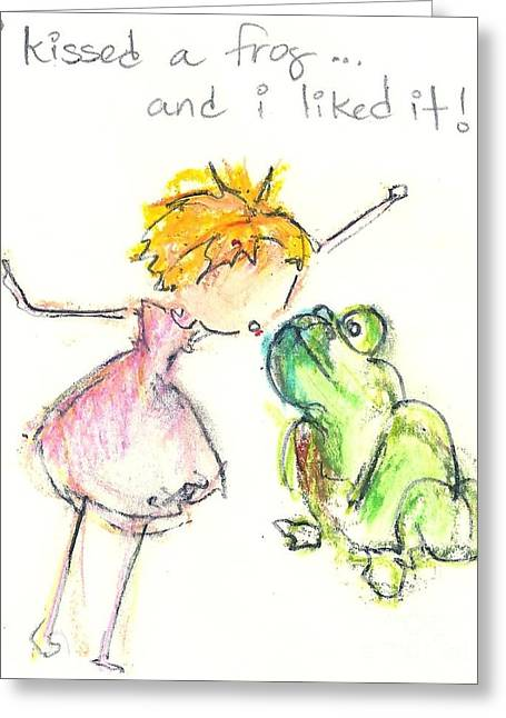 I Kissed A Frog Greeting Card by Ricky Sencion