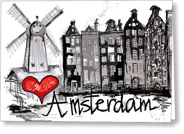 Europe Sculptures Greeting Cards - I love Amsterdam Greeting Card by Sladjana Endt
