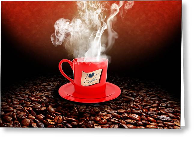 Italian Restaurant Digital Greeting Cards - I Love Coffee Greeting Card by Stefano Senise