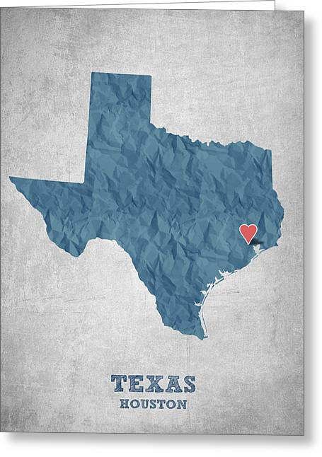 Universities Drawings Greeting Cards - I love Houston Texas - Blue Greeting Card by Aged Pixel