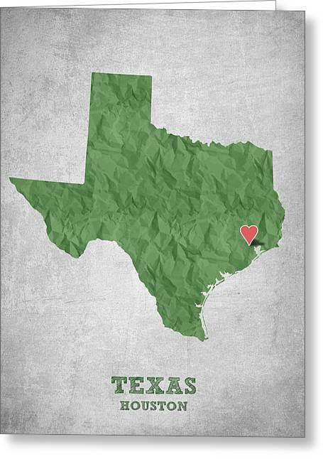 Grunge Drawings Greeting Cards - I love Houston Texas - Green Greeting Card by Aged Pixel