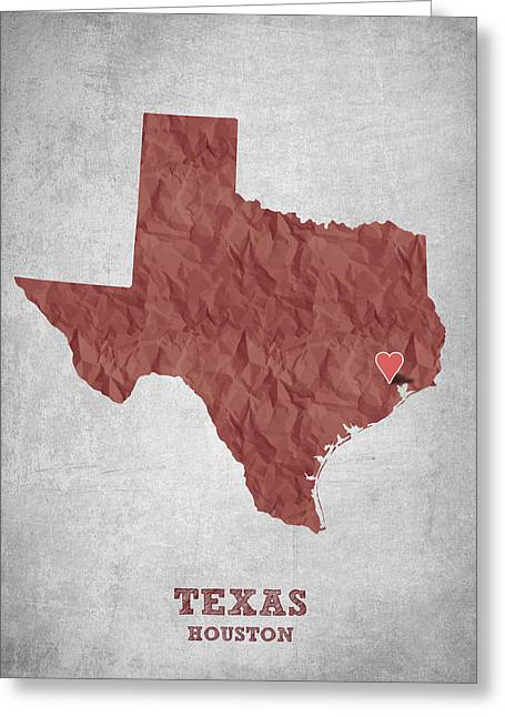 Grunge Drawings Greeting Cards - I love Houston Texas - Red Greeting Card by Aged Pixel
