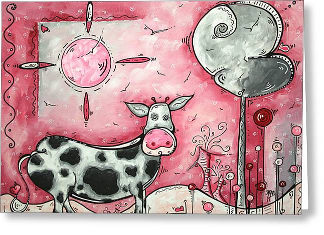 Kid Greeting Cards - I LOVE MOO Original MADART Painting Greeting Card by Megan Duncanson
