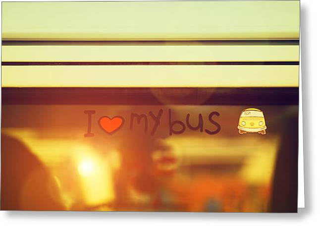 """peace And Love"" Greeting Cards - I Love My Bus Greeting Card by Tim Gainey"