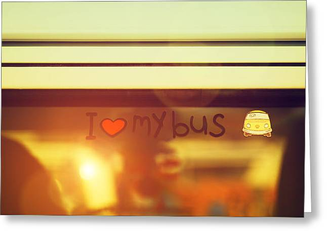 """""""peace And Love"""" Greeting Cards - I Love My Bus Greeting Card by Tim Gainey"""
