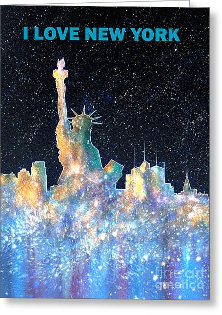 Nyc Posters Paintings Greeting Cards - I Love New York Greeting Card by Bill Holkham