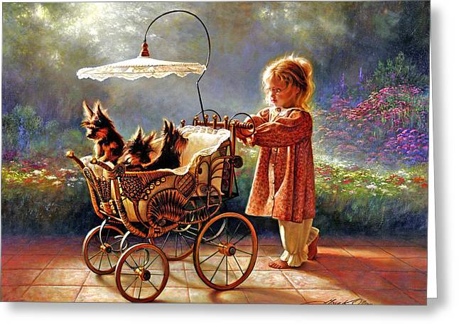 Little Girl Greeting Cards - I Love New Yorkies Greeting Card by Greg Olsen