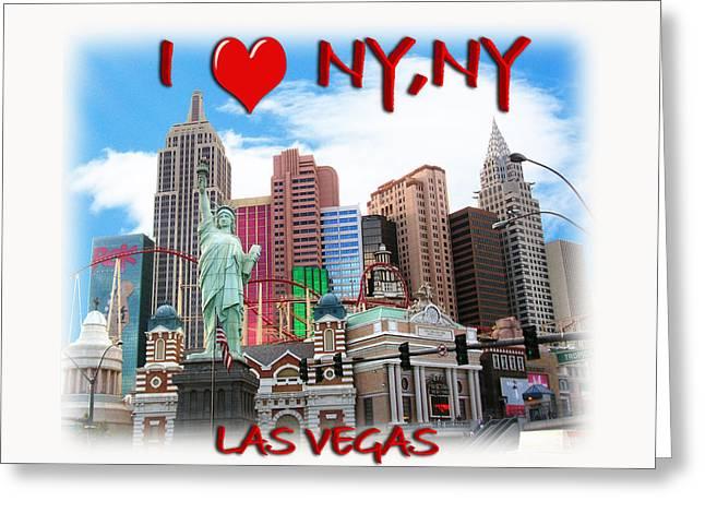 Las Vegas Mixed Media Greeting Cards - I Love NY NY Greeting Card by Gravityx9  Designs
