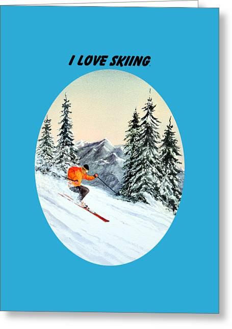I Love Skiing  Greeting Card by Bill Holkham