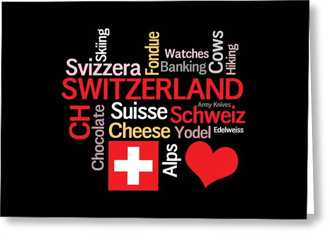 Swiss Greeting Cards - I Love Switzerland Greeting Card by Antique Images