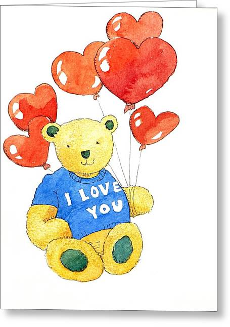 Cute Bear Cartoon Greeting Cards - I love you bear Greeting Card by Jennifer Abbot