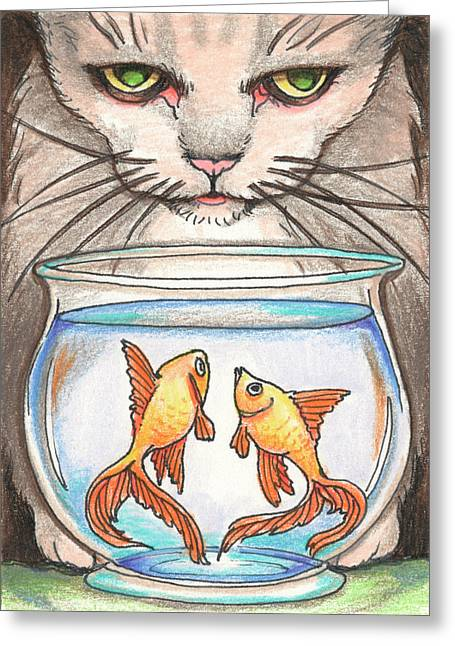 Animals Love Drawings Greeting Cards - I Loves Fishes Greeting Card by Amy S Turner