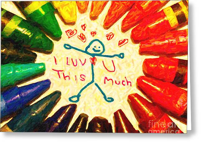 Color Spectrum Greeting Cards - I Luv U This Much Greeting Card by Wingsdomain Art and Photography