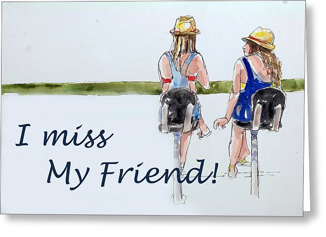 Raw Oyster Greeting Cards - I miss My Friend Greeting Card by Shirley Sykes Bracken