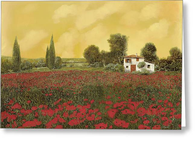 Cypress Greeting Cards - I Papaveri E La Calda Estate Greeting Card by Guido Borelli