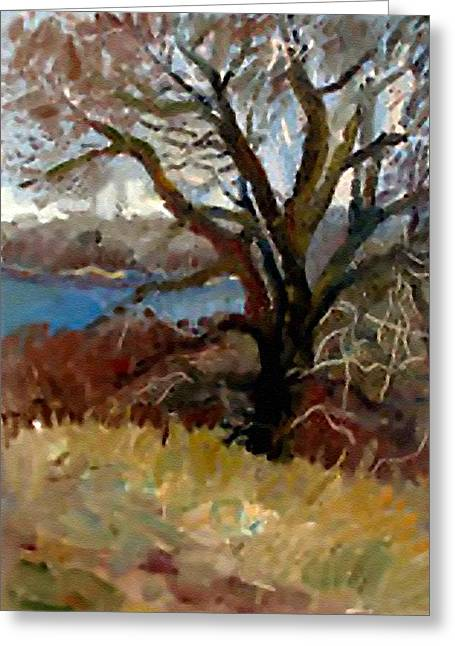 Abstract Digital Pastels Greeting Cards - I Passed a Tree on my Path  H b Greeting Card by Gert J Rheeders