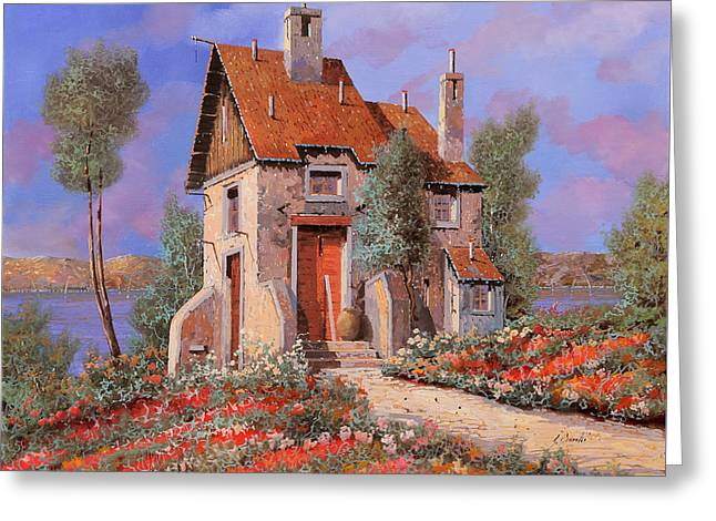 Lakescape Greeting Cards - I Prati Rossi Greeting Card by Guido Borelli