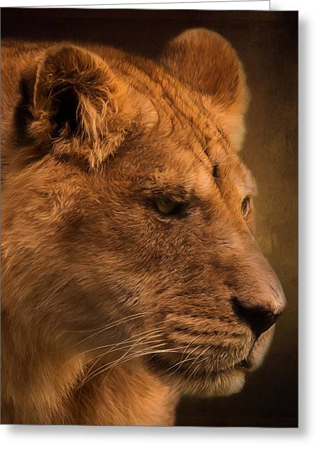 I Promise - Lion Art Greeting Card by Jordan Blackstone