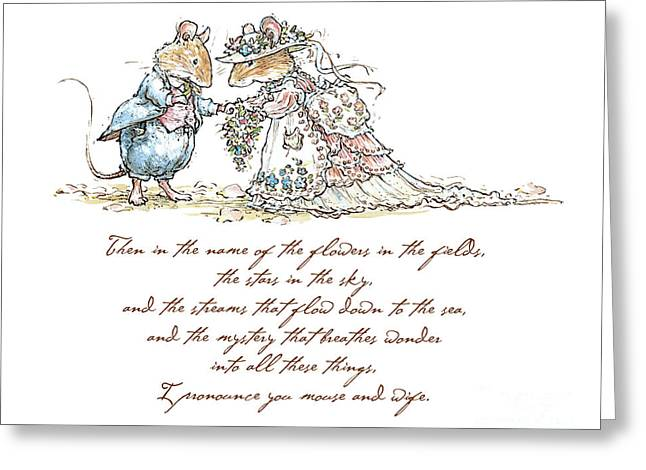 Coloured Greeting Cards - I pronounce you mouse and wife Greeting Card by Brambly Hedge
