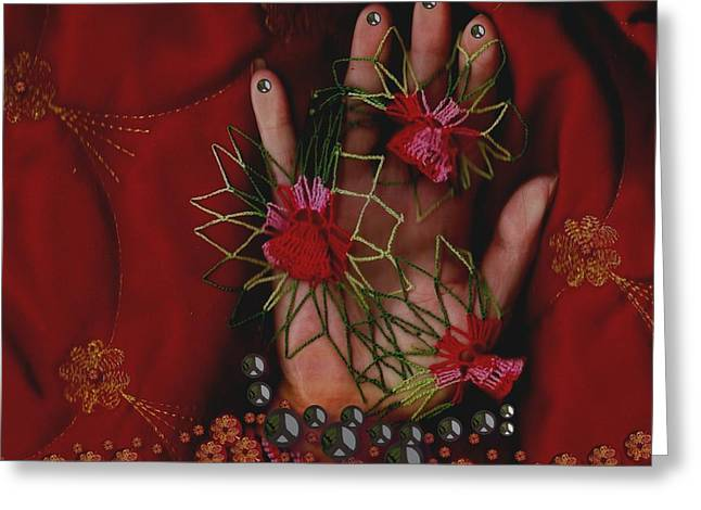 I Reach Love Peace In Life With My Hand Greeting Card by Pepita Selles