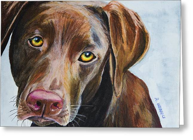 Mixed Labrador Retriever Greeting Cards - I Really Rather Be Playing Greeting Card by Roger Wedegis
