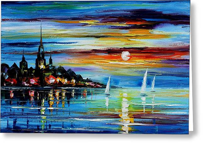 Popular Art Greeting Cards - I Saw A Dream - PALETTE KNIFE Oil Painting On Canvas By Leonid Afremov Greeting Card by Leonid Afremov