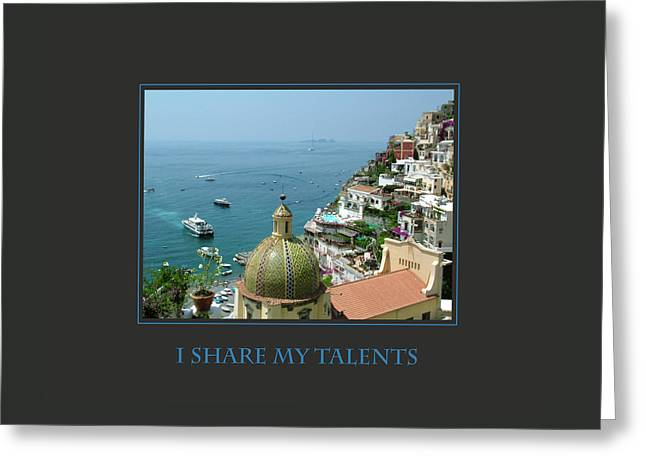 I Share My Talents Greeting Card by Donna Corless