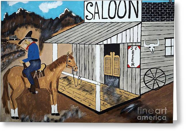 Saloons Paintings Greeting Cards - I Should Quit Drinking. Greeting Card by Jeffrey Koss