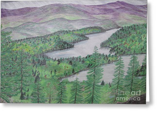Maine Landscape Drawings Greeting Cards - I Suspect More Rain Greeting Card by Stella Sherman