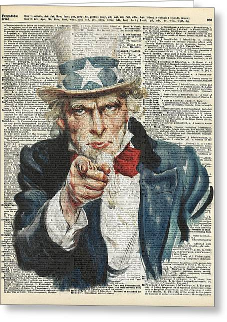 Tuxedo Greeting Cards - I Want You Uncle Sam Greeting Card by Jacob Kuch