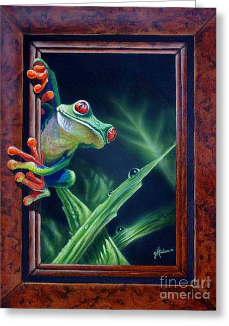 Tree Frog Paintings Greeting Cards - I Was Framed Greeting Card by Greg Halom