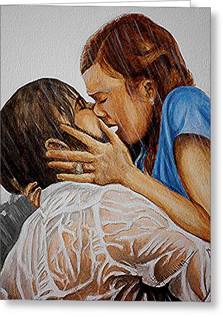 Kissing Greeting Cards - I wrote you everyday for a year Greeting Card by Al  Molina