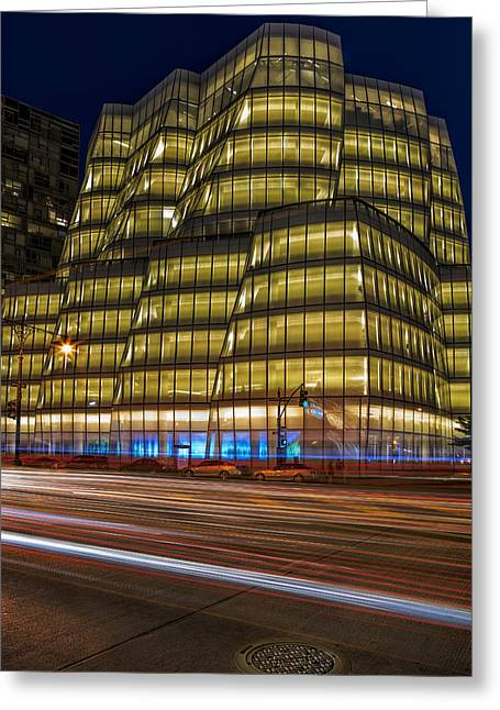 Blue Hour Greeting Cards - IAC Building Greeting Card by Susan Candelario