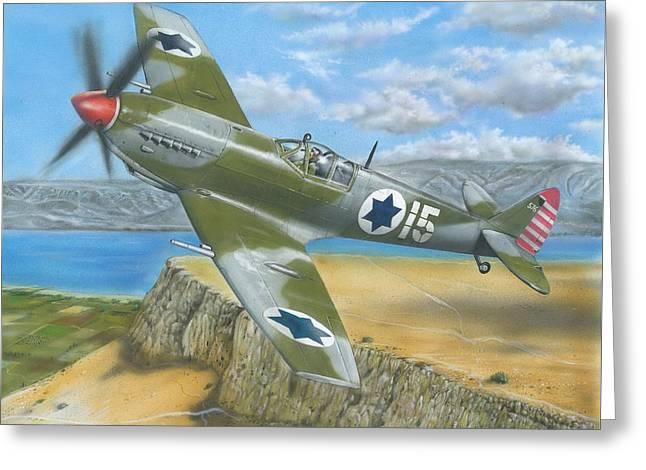 Spitfire Mixed Media Greeting Cards - Iaf Spitfire Over Mount Arbel Greeting Card by Tuvia Kurz