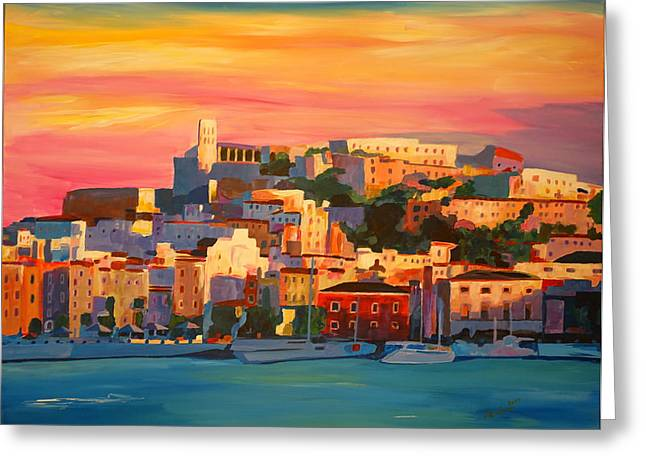 Sunset Posters Greeting Cards - Ibiza Eivissa Old Town and Harbour Pearl of the Mediterranean Greeting Card by M Bleichner