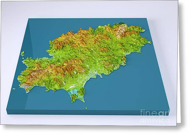 Ibiza Island 3d Model Topographic Map Color Frontal Greeting Card by Frank Ramspott