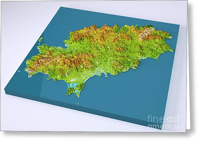 Ibiza Island 3d Model Topographic Map On Blue Greeting Card by Frank Ramspott