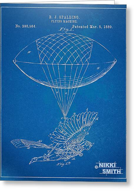 Flying Angel Greeting Cards - Icarus Airborn Patent Artwork Greeting Card by Nikki Marie Smith
