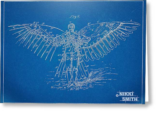 Steam-punk Greeting Cards - Icarus Flying Machine Patent Artwork Greeting Card by Nikki Marie Smith