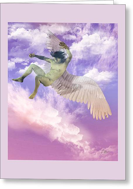 Flying Angel Greeting Cards - Icarus Greeck Myth Greeting Card by Joaquin Abella
