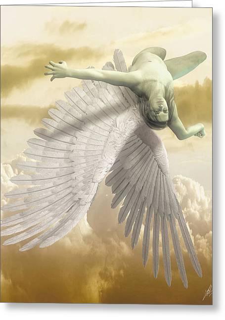 Icarus Myth Greeting Card by Quim Abella