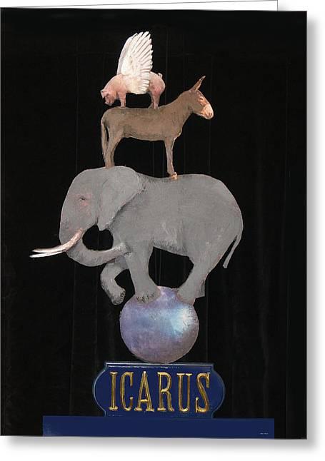Donkey Mixed Media Greeting Cards - Icarus Greeting Card by Steve Karol