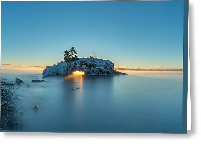 Ice Blue Sunrise // North Shore, Lake Superior  Greeting Card by Nicholas Parker