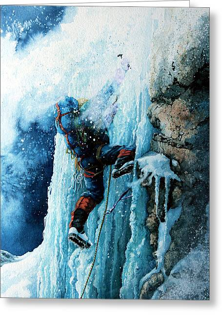 Winter Sports Art Prints Greeting Cards - Ice Climb Greeting Card by Hanne Lore Koehler