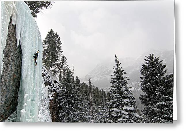 Vertigo Greeting Cards - Ice Climber Greeting Card by Elijah Weber