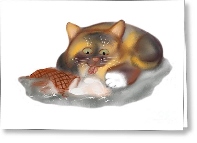 Licking Ice Cream Greeting Cards - Ice Cream Cone for Kitten Greeting Card by Ellen Miffitt