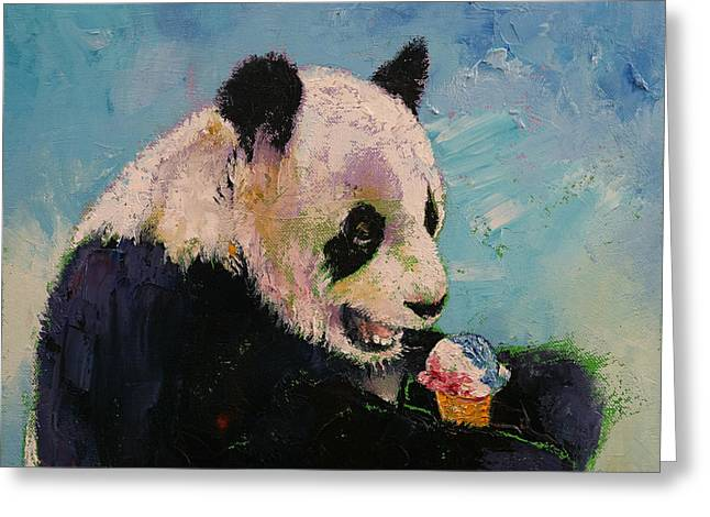 Giant Panda Greeting Cards - Ice Cream Greeting Card by Michael Creese